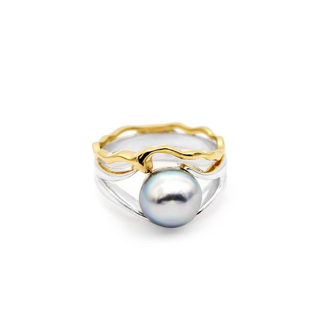 Island Bound Wave Silver & 9ct Gold Ring with Abrolhos Island Black Pearl