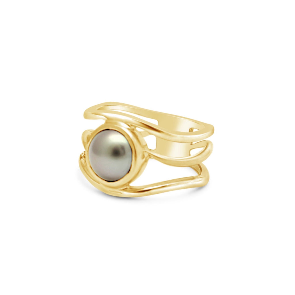Open Slim Lexi Yellow Gold Ring Abrolhos Pearl