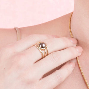 Slim Lexi Rose Gold Ring Abrolhos Pearl