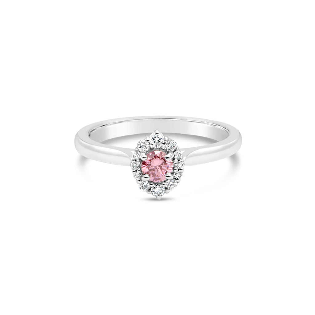 Venus Pink Diamond Halo Ring by OLYV