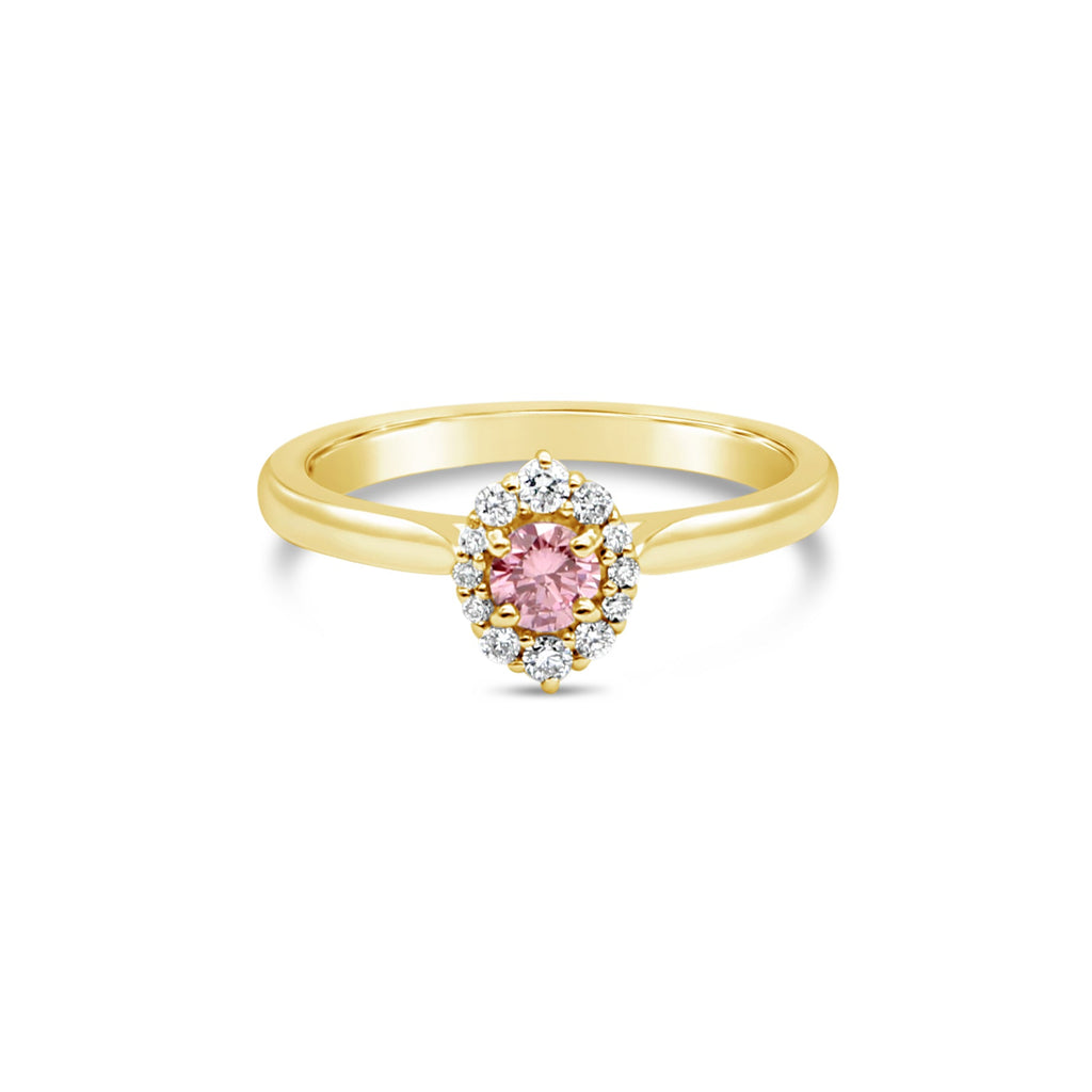 Venus Pink Diamond Halo 9ct Yellow Gold Ring by OLYV