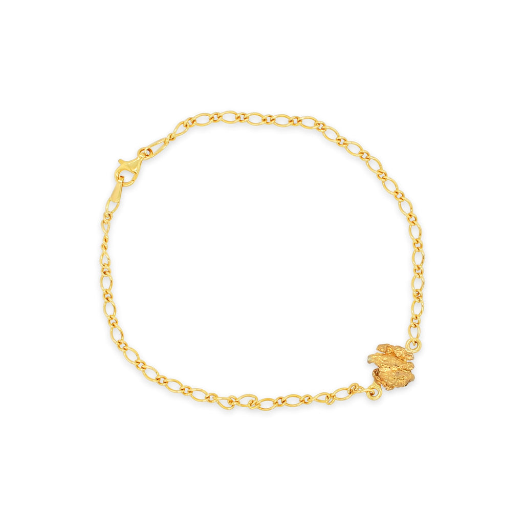 9ct Yellow Gold Figaro Link Bracelet with Gold Nugget