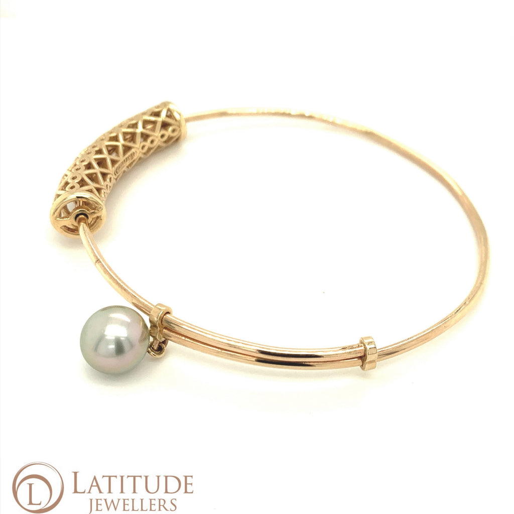 Gold Moroccan Bangle Black Pearl