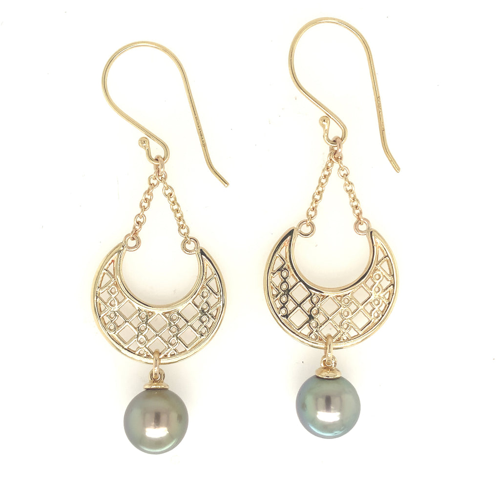 9ct Yellow gold Moroccan Earrings with Abrolhos Island Black Pearls