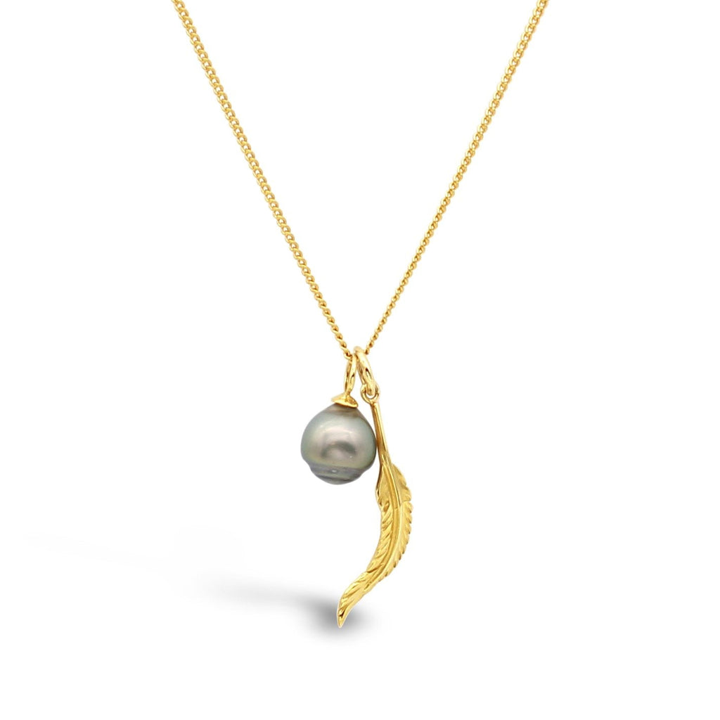 Feather & Pearl Pendant 9ct Yellow Gold