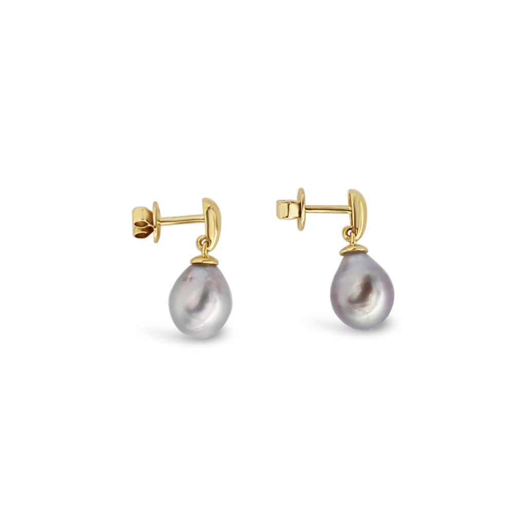 Yellow Gold Articulated Pearl Earrings