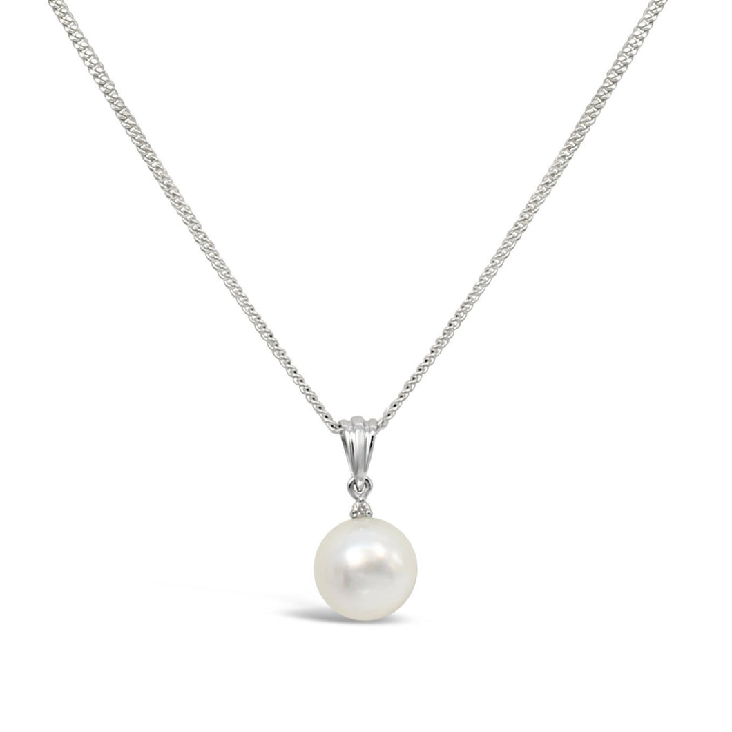 South Sea Pearl and Diamond Pendant in 9ct White Gold