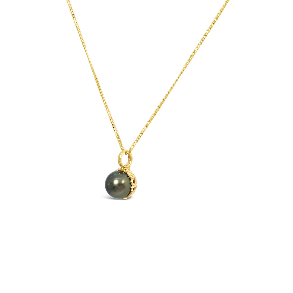9ct Yellow Gold Filigree Pendant with Abrolhos Island Black Pearl