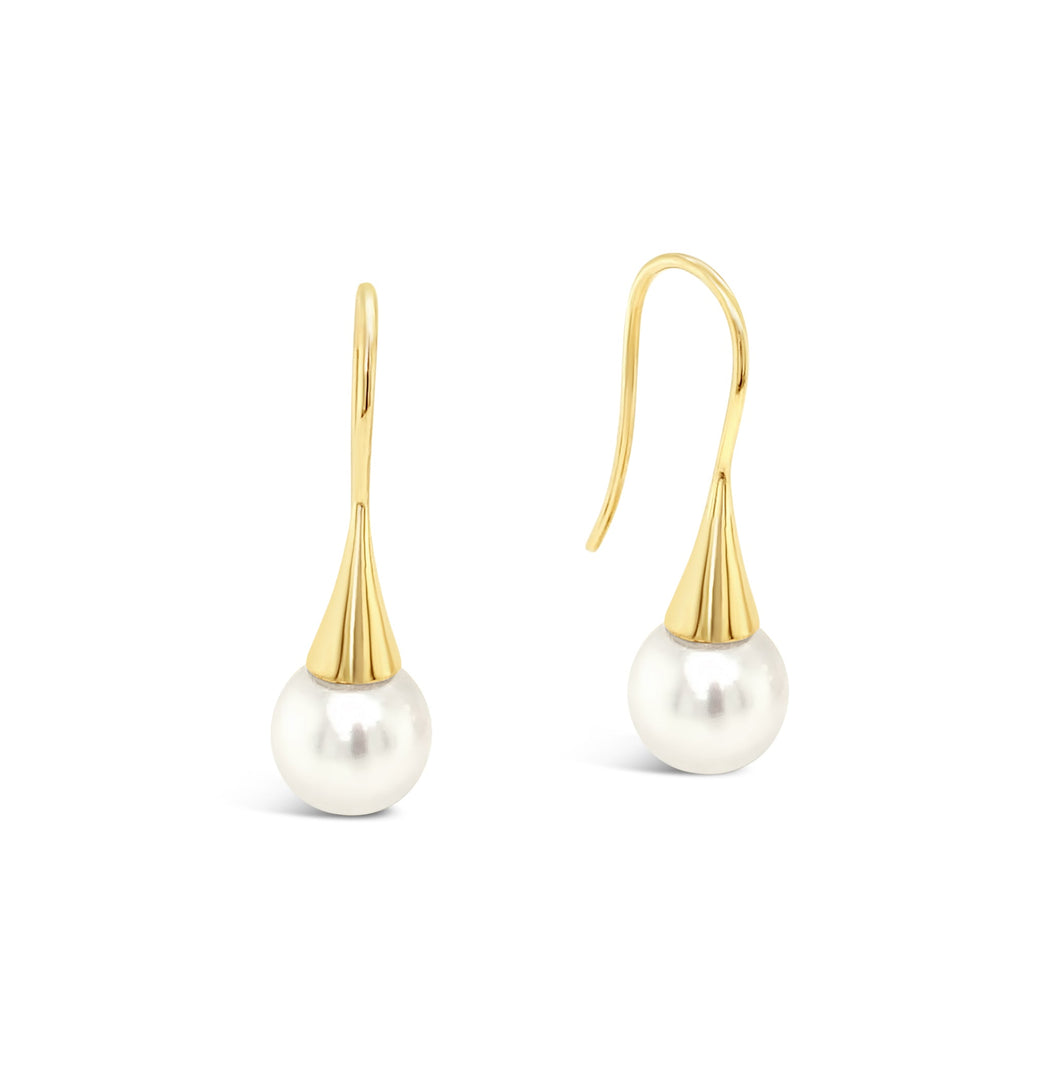 9ct Yellow Gold, South Sea Pearl Flute Earrings
