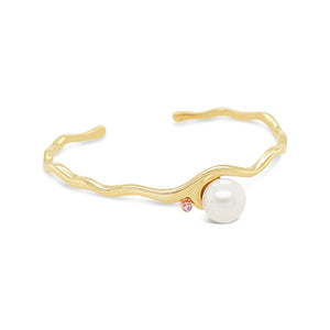 Pink Diamond Featured on Island Bound Wave Cuff and White South Sea Pearl
