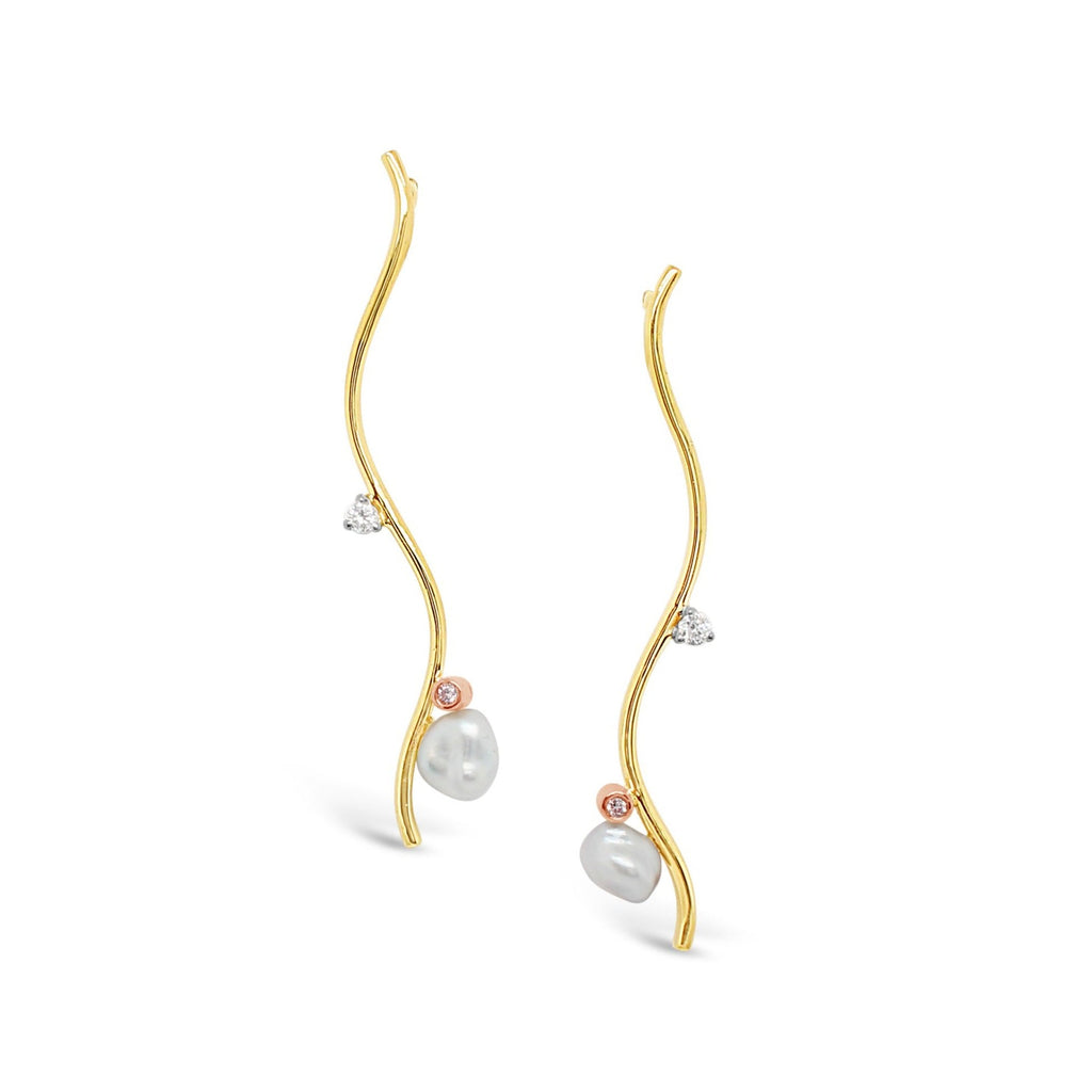 Pink Diamonds featured on Abrolhos Keshi Pearl and Diamond Wave Earrings 9ct Yellow Gold