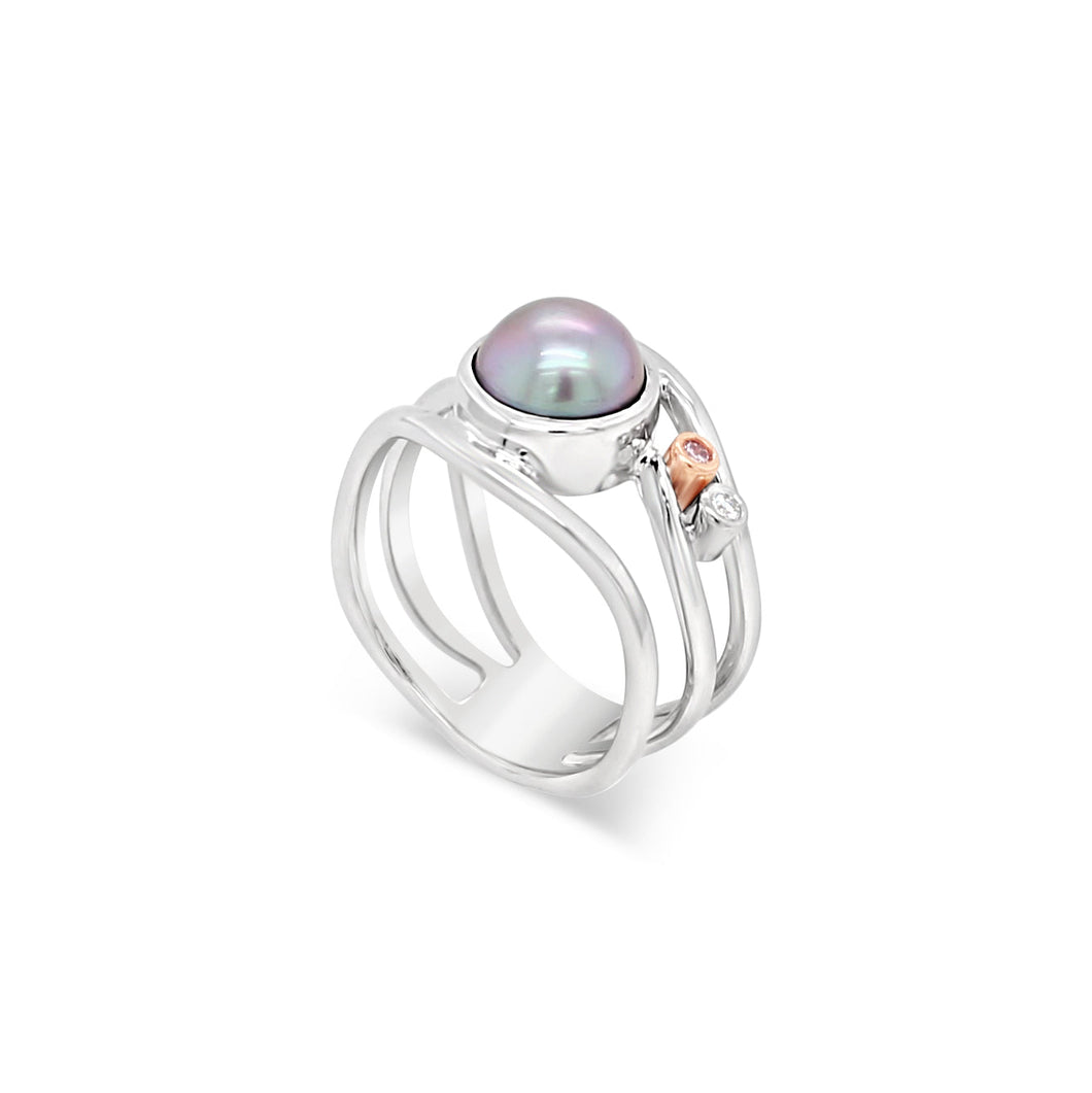 Pink Diamond and Abrolhos Island Pearl 9ct White Gold Ring