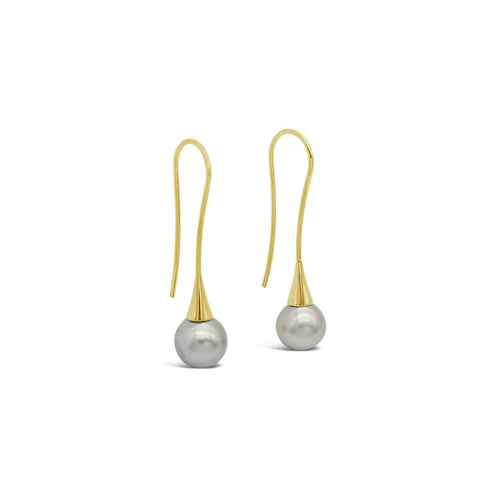 Abrolhos Pearl Long Flute Earrings 9ct Yellow Gold