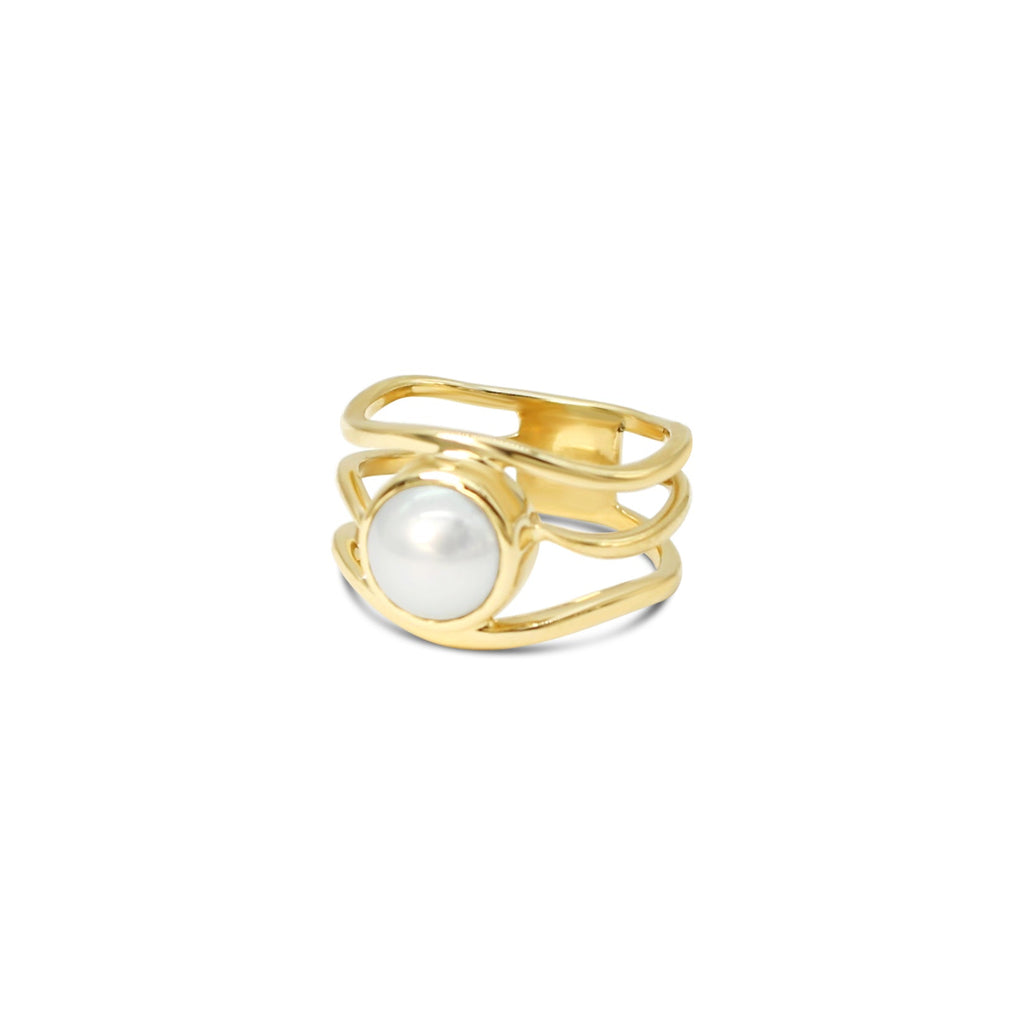 Open Slim Lexi Yellow Gold Ring Abrolhos Is Akoya Pearl