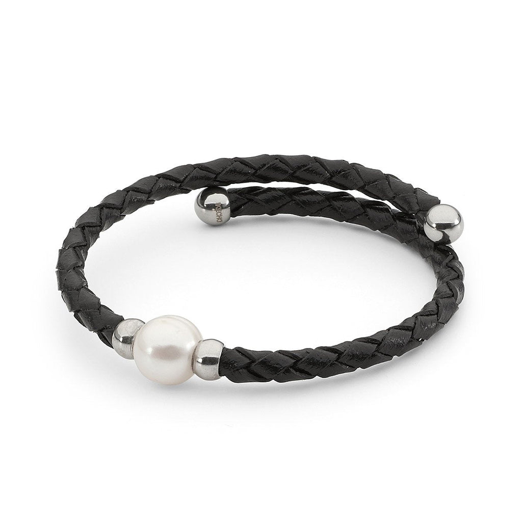 Braided Leather and Pearl Bracelet Black