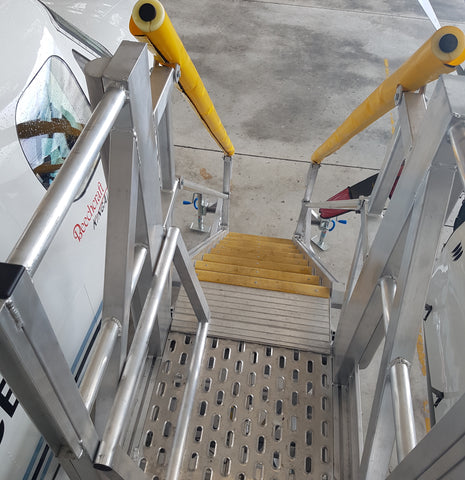 close up safesmart stairs with yellow handrails
