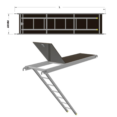 Aluminium Access Deck with Ladder - Tubular - SafeSmart Access