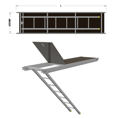 Aluminium Access Deck with Ladder - U Transom - SafeSmart Access