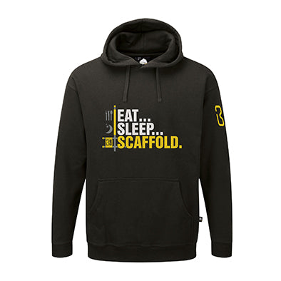 EAT, SLEEP SCAFFOLD HOODY.  LARGE