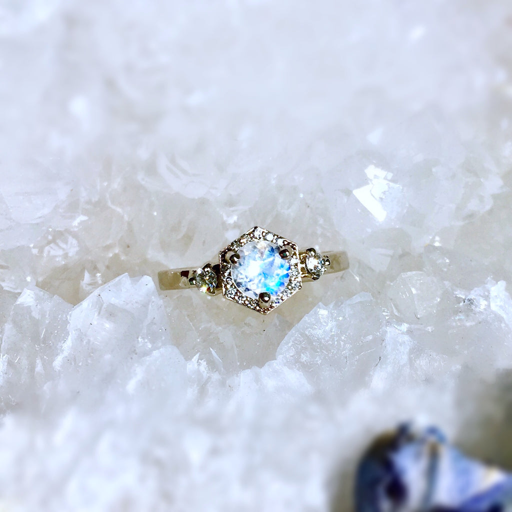 RAINBOW MOONSTONE + DIAMOND HALO ENGAGEMENT RING