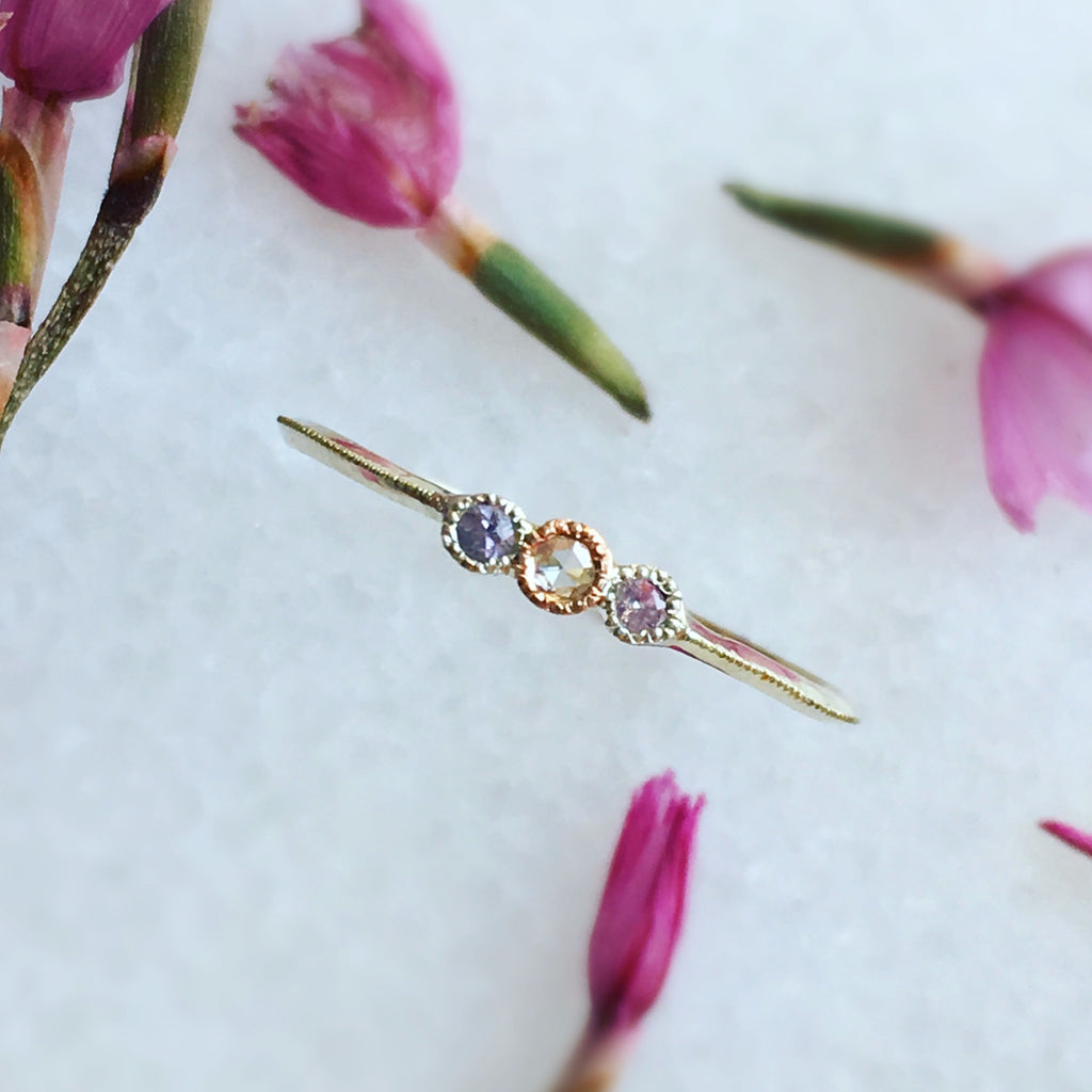 ROSE-CUT DIAMOND + PINK SAPPHIRE RING