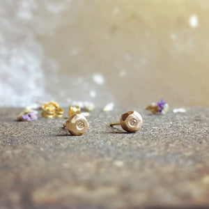 CRYSTALLIZED GOLD + DIAMOND STUDS