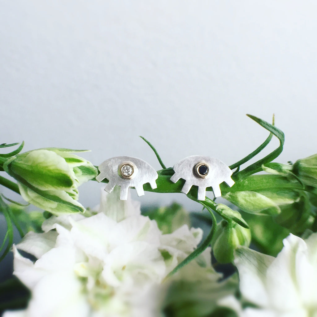 BLACK + WHITE DIAMOND EYE STUDS