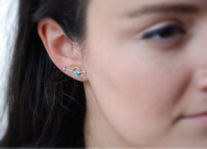 ORBITAL GOLD + SILVER EARRINGS- TURQUOISE