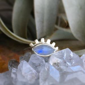 RAINBOW MOONSTONE + EVIL EYE RING