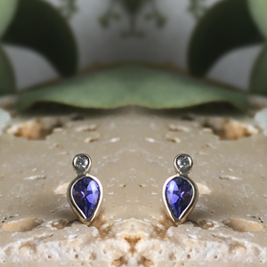 TANZANITE + DIAMOND STUDS