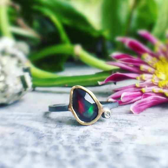 BLACK OPAL + DIAMOND RING