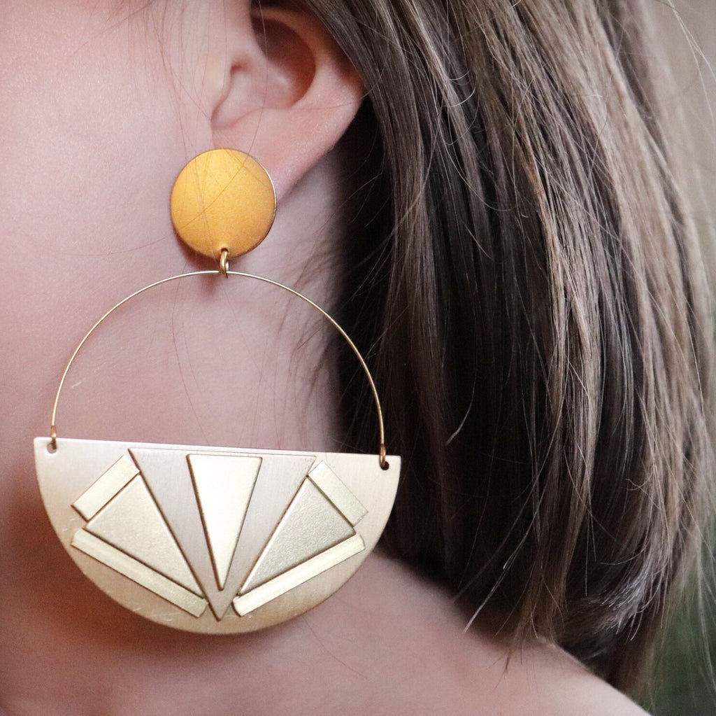 ON SALE Half Circle + Arrows Earrings from $92
