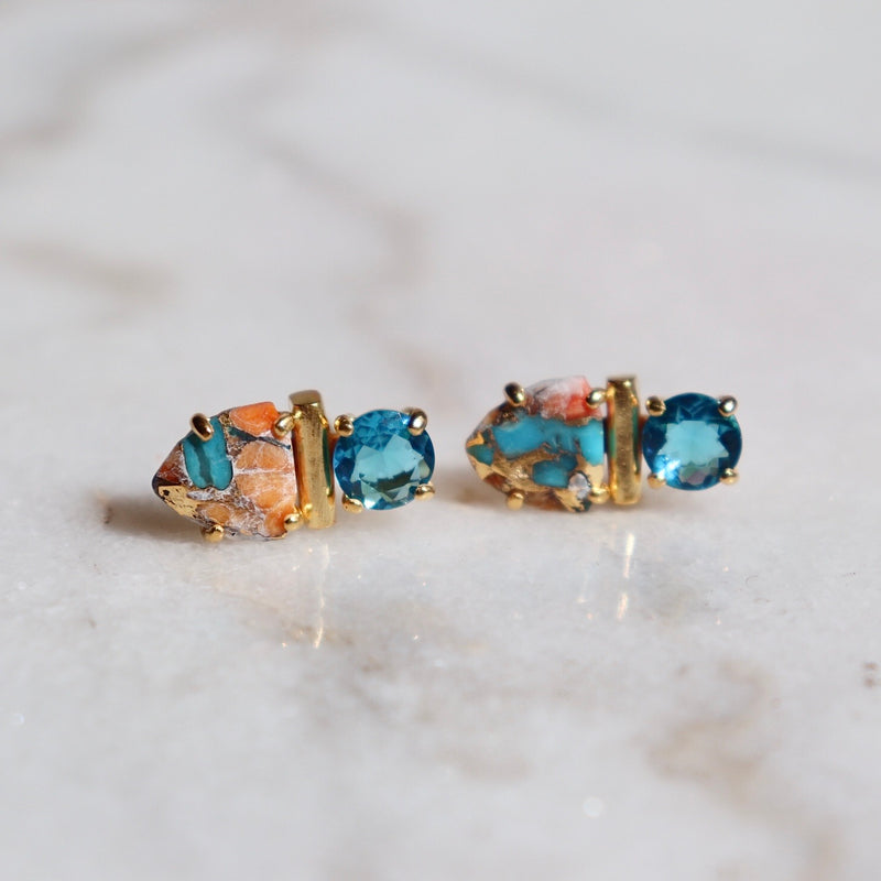 Turquoise Sunset Collage Studs