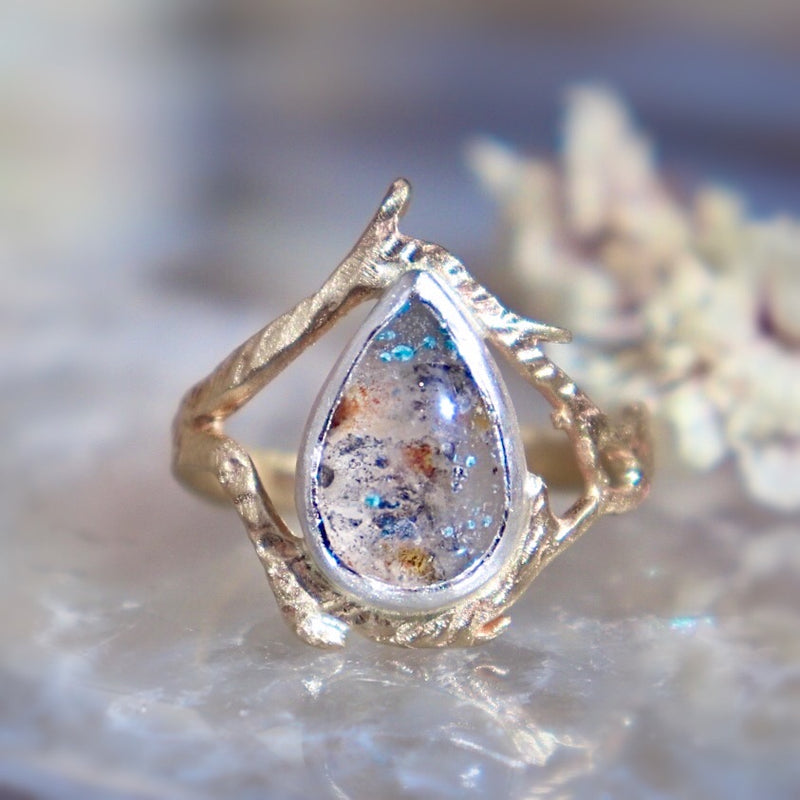 Paraiba Quartz + Branch Ring