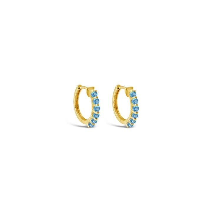 Swiss Blue Topaz Karma Hoop Earrings