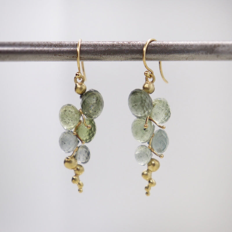 Moss Aquamarine Caviar Drop Earrings