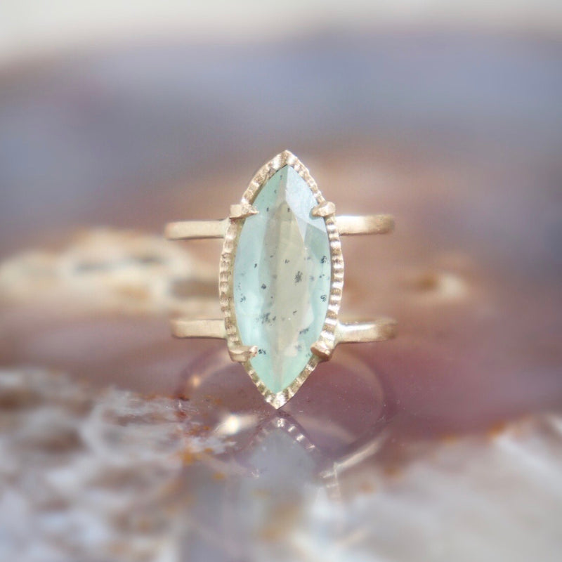 Moss Aquamarine + Gold Ring