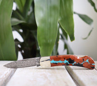 Turquoise Vein & Damascus Steel Lockback Knife