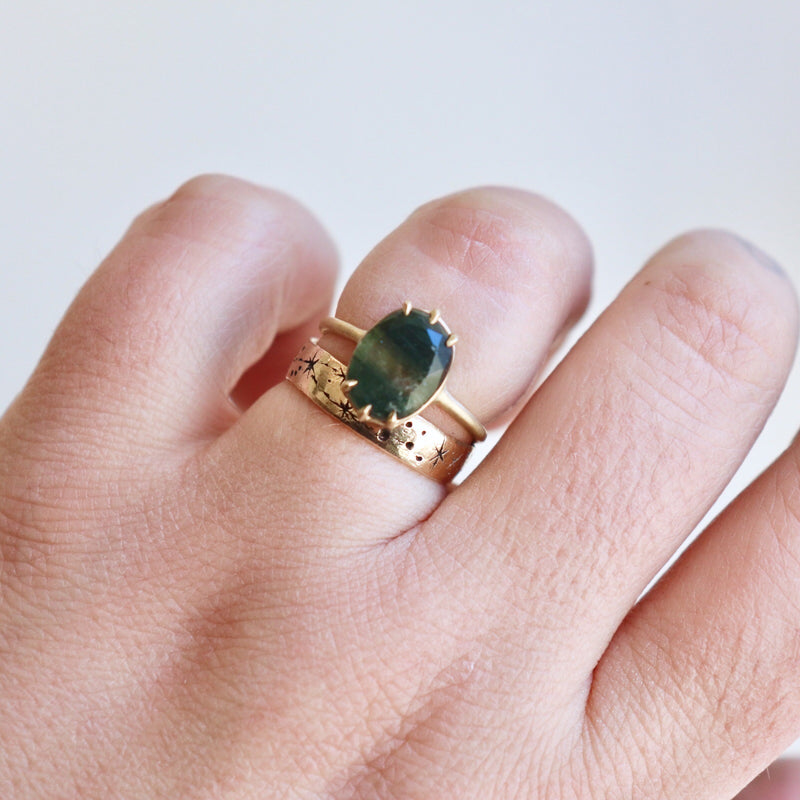 Green Rutilated Quartz + Gold Ring