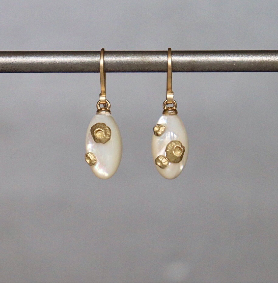 Mother Of Pearl Barnacle Earrings