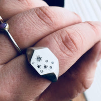 Starlight Diamond Signet Ring