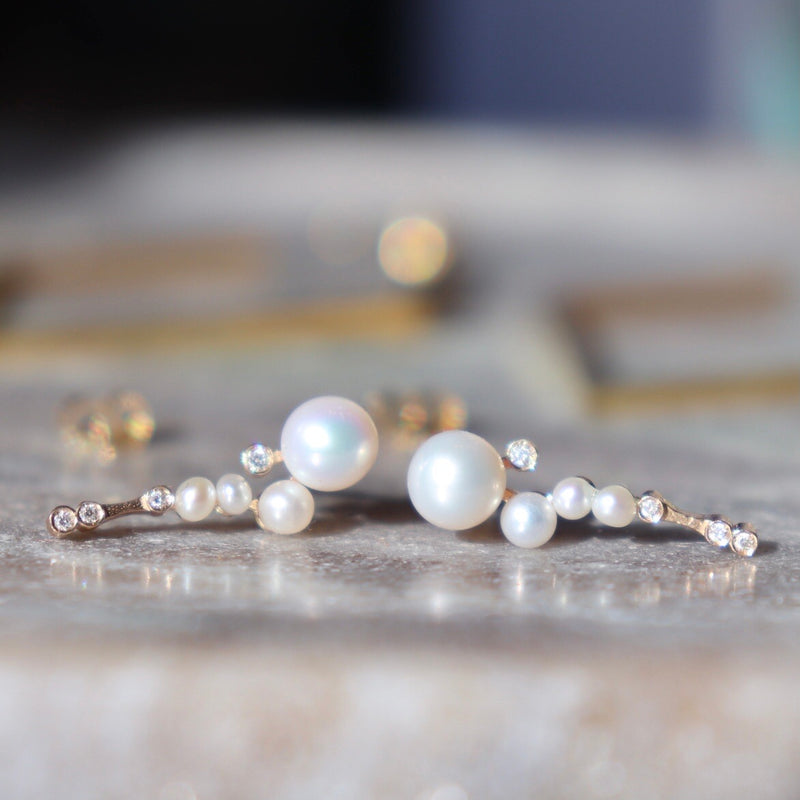 Pearl & Diamond Shimmer Earrings