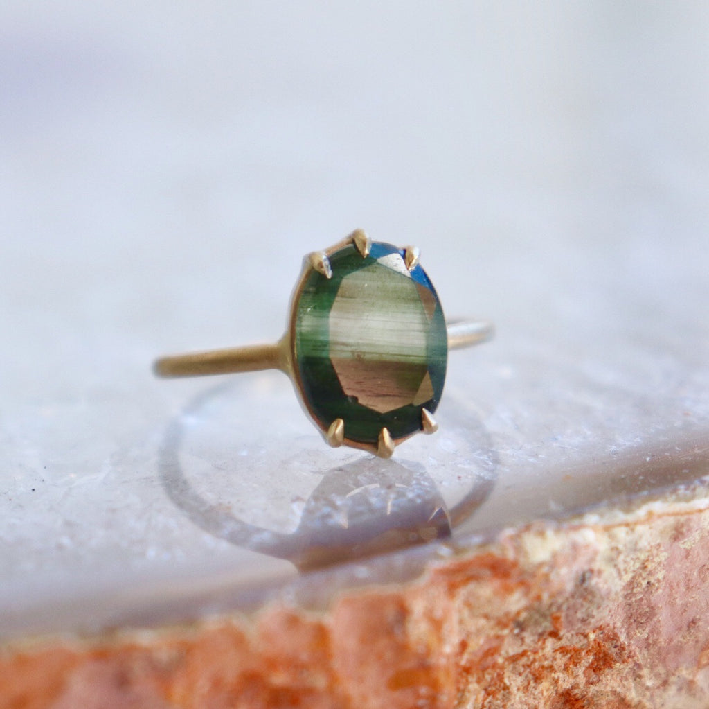 ON SALE Green Rutilated Quartz + Gold Ring from $540