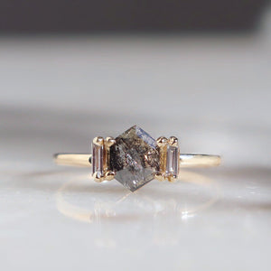 On sale from $1395 'Myra' Smokey Diamond & Baguette Ring