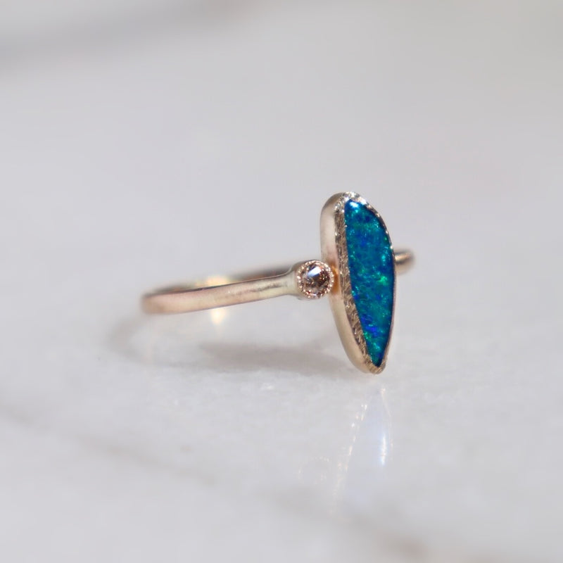 Boulder Opal & Champagne Diamond Ring