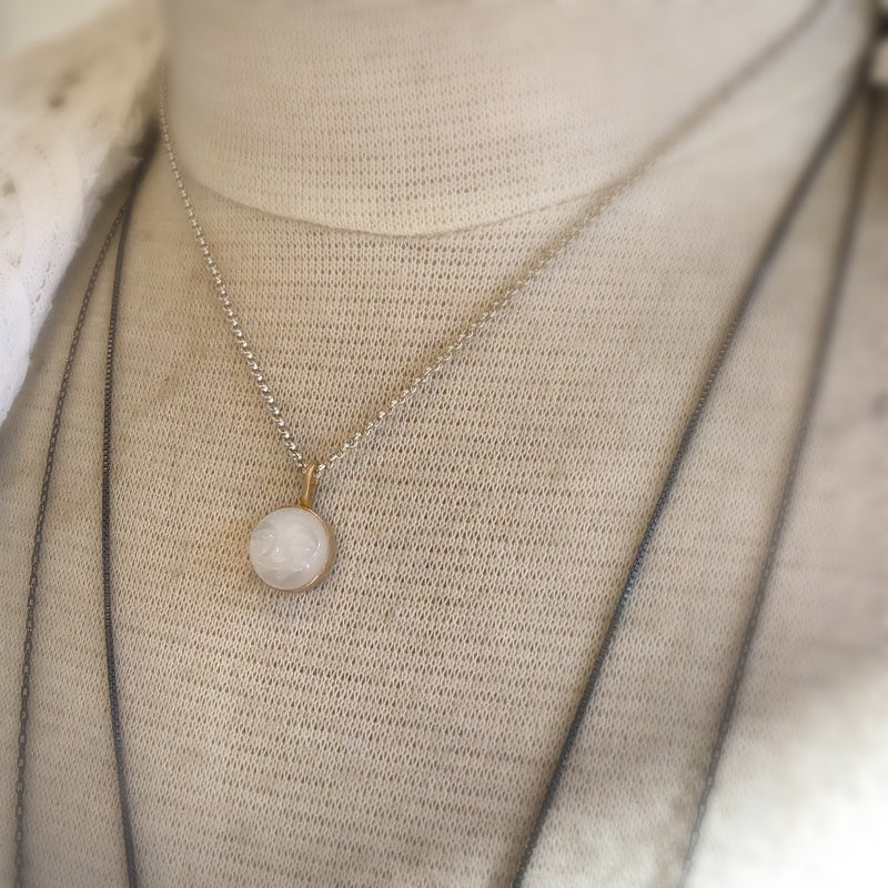 Moonstone Moon Face Necklace