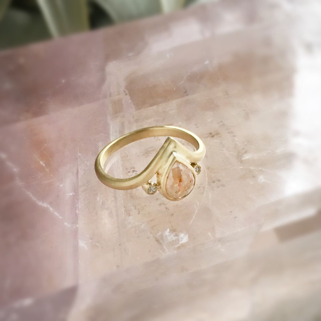 Peach Diamond + Gold Ring