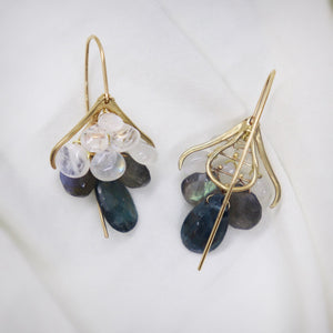 Moonstone, Labradorite, Kyanite Plumage Earrings