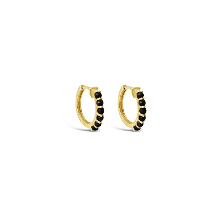 Black Onyx Karma Hoop Earrings