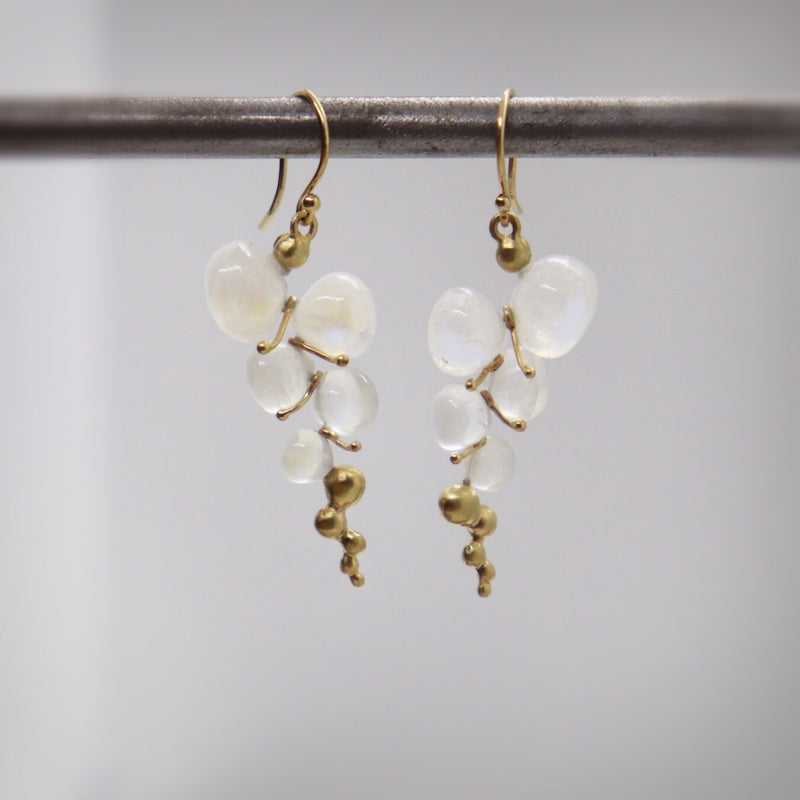 Moonstone Caviar Drop Earrings